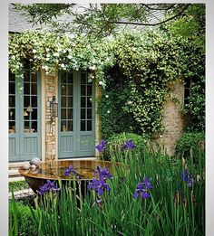 So much to love in this image... The pretty French doors, flowering climbers hanging from the eaves, the huge water filled urn and the stately iris in the foreground. A garden in Alabama owned by the Cornay family and designed by Dr Cornay with the help of Jane Reed Ross... Sarah Arrington #garden#gardendesign#gardensofinstagram #iris#climbingrose #gardenurn