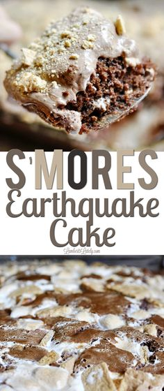 Smores Earthquake Cake is a rich chocolate cake with marshmallow creme swirls and bits of graham cracker/chocolate throughout. Such a great idea for a potluck or a supper club dessert! via @lambertslately