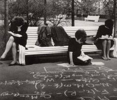 Female Soviet college students studying for their exams in a park in late 1960s