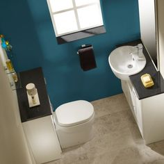 Love the wall color. Zest Sanitaryware - the perfect solution for the smaller bathoom on display in the showroom.