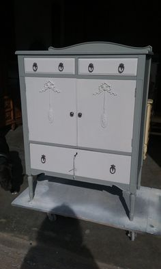 vintage armoire furniture shabby chic painted dresser wardrobe chifferobe #vintagefurniture #vintagedresser #armoire #liquor cabinet