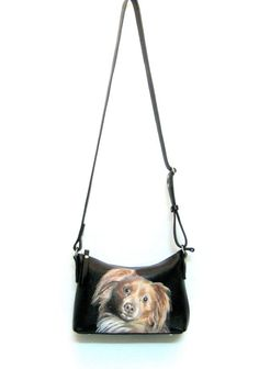 Leather bag black Personalized leather purse with a portrait of your pet. This hand-painted purse was made to order. If you want to have a portrait