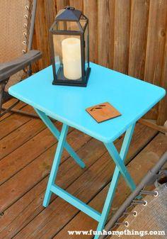DIY Outdoor Aqua Table Makeover - Fun Home Things