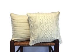Cable Knit Pillow Cover Up Cycled Sweater Off by ButtermilkCottage