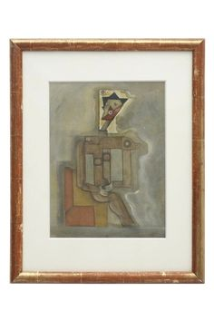 Constructionist cubist figural painting in pencil, watercolor and oil pastel, in antique frame. France, circa 1940