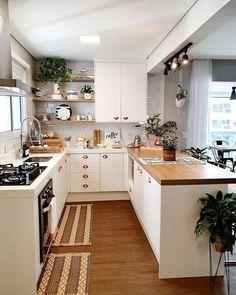 Kitchen Room Design, Modern Kitchen Design, Home Decor Kitchen, Interior Design Kitchen, Home Kitchens, Small Apartment Kitchen, Kitchen Ideas For Small Spaces, Kitchen Hacks, Kitchen Size