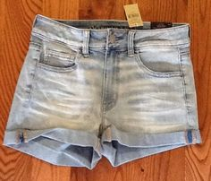 AMERICAN EAGLE CAFE HIGH RISE SHORTIE MELLOW FROTH JEAN SHORTS NWT SIZE 4 #AmericanEagleOutfitters #MiniShortShorts