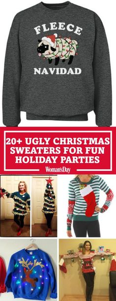 "Give your relatives a giggle with these obnoxiously cozy knits. From ""Fleece Navidad"" to ""Oh, Christmas Tree"" you'll be the life of the party with these ugly christmas sweaters this holiday season."