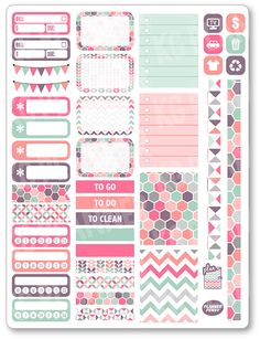 Pastels Functional Kit Planner Stickers for Erin Condren Planner, Filofax, Plum…
