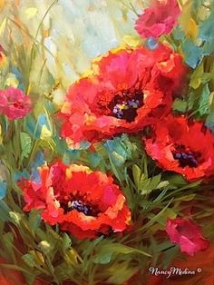 Pink Profusion Poppies - Flower Paintings by Nancy Medina, original painting by artist Nancy Medina | DailyPainters.com