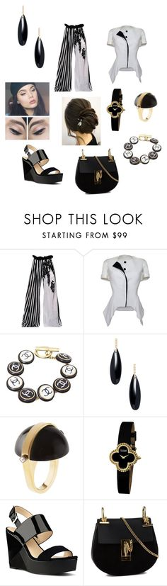 """""""Classic Ease 🎹🖤"""" by savannah-foster-330 ❤ liked on Polyvore featuring Ann Demeulemeester, House of Ronald, Chanel, Janis Savitt, May Moma, Van Cleef & Arpels, Nine West and Chloé"""