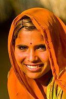 Young woman,  Bishnoi tribal village, near Rohet, Rajasthan, India