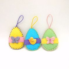 3 Wool Felt Penny Rug Style Easter Egg Ornaments by maryimp, $15.00