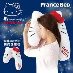 Sanrio Hello Kitty sideways Nemakura sleep bandage pillow From Japan New Japan News, Sanrio Hello Kitty, Creepy, Snoopy, Pillows, Cushions, Instagram Posts, Cute, Fabric