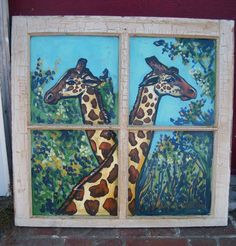 Giraffes  old painted window by Dawn Tarr