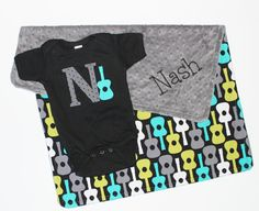 PERSONALIZED Baby Boy Guitars Blanket with Gray Minky and MATCHING Bodysuit via Etsy