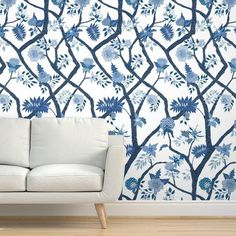 Chinoiserie Wallpaper - Peony Branch Mural In Blues By Danika Herrick - Custom Printed Removable Self Adhesive Wallpaper Roll by Spoonflower Self Adhesive Wallpaper, Wallpaper Roll, Peel And Stick Wallpaper, Chinoiserie Wallpaper, Drawer And Shelf Liners, Diy Hanging, Wall Spaces, Textured Walls, Surface Design