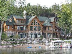 luxury michigan lake log homes for sale - Google Search