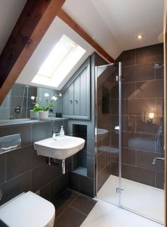 Modern Attic Bathroom Design Ideas Modern Attic Bathroom Design Ideas - Frameless shower enclosure in gable roof loft conversion. Loft Ensuite, Loft Bathroom, Upstairs Bathrooms, Ensuite Bathrooms, Small Bathroom, Bathroom Ideas, Shower Ideas, Bathroom Faucets, Barn Bathroom