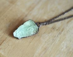 Raw Aquamarine Necklace Green Blue by AmandaLeilaniDesigns on Etsy, $72.00