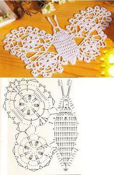 crochet butterflies, more ideas - crafts ideas - crafts for kids Filet Crochet Charts, Crochet Motifs, Form Crochet, Crochet Diagram, Crochet Stitches Patterns, Crochet Doilies, Crochet Butterfly Pattern, Crochet Birds, Crochet Flowers