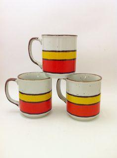 Retro Orange Yellow Brown Mugs  1970s Mugs  Buffet by Comforte, $13.00