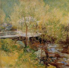 The White Bridge, John Henry Twachtman.  American Tonalist, Impressionist Painter (1853-1902)