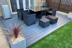 Not everyone has a massive backyard for their deck. Don't let that stop you put a little thought into what you're doing and it will go along way. The small deck is all the livability of a deck five times the size. Let outdoor living never end. Trex Composite Decking, Builders Merchants, Sandstone Paving, Decking Material, Timber Deck, Landscaping Supplies, Outdoor Furniture Sets, Outdoor Decor, Garden Spaces