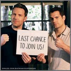 "Ben & Henry Cavill advertising ""Batman Vs Superman"" & the 'Justice League'"