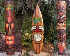 Hawaiian Crafts, Hawaiian Tiki, Tropical Backyard, Backyard Pool Designs, Tiki Statues, Tiki Faces, Tiki Mask, Tiki Hut, Tiki Tiki