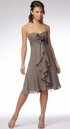 Strapless Short Bridesmaid Dress with Cascading Drape