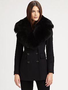 Burberry London Fur-Trimmed Coat
