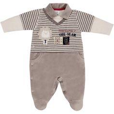 Macacão Longo Listrado para Bebê Menino Cinza - Sonho Mágico :: 764 Kids | Roupa bebê e infantil