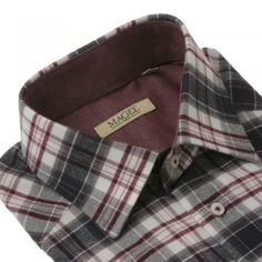 A regular fitting red and brown checked shirt. The fabric is a soft brushed cotton. Features include, single, adjustable cuffs, breast pocket and contrasting internals. Men Shirts, Check Shirt, Knitwear, Cuffs, Breast, Menswear, Pocket, Brown, Casual