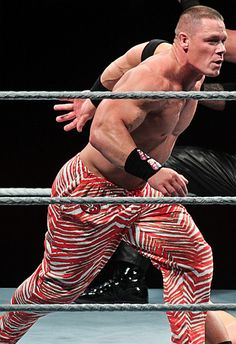 John Cena in red and white stripes.