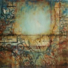 Chelone ~ Encaustic and mixed media on panel ~ by Lisa Bick