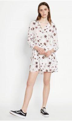 NATALIA SILK DRESS - BRIGHT WHITE MULTI WATERCOLOR DAYDREAMS