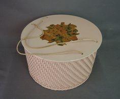 Vintage Pink Wicker Sewing Basket Wooden Box by dandelionvintage