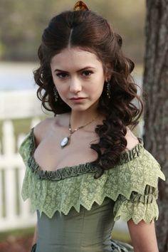 Katherine Pierce ( Nina Dobrev -  Vampire Diaries) 1864 Pastel Green Gown: bodice details