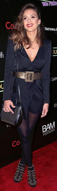Jessica Alba: Dress – Balmain  Iphone case – Bootcase  Earrings – Octavia Elizabeth Jewelry  Purse – Alexander McQueen