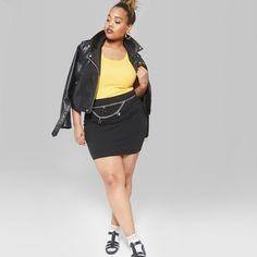 3989588e07 Women's Plus Size Knit Corduroy Mini Skirt - Wild Fable Black 1X in ...