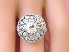 ESTATE ART DECO 1.04ct MINE DIAMOND PLATINUM ROUND COCKTAIL ENGAGEMENT RING