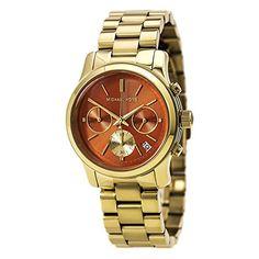 Michael Kors Watches Runway Chronograph Stainless Steel Watch (Gold/Orange)
