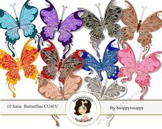 This is designer resource kit contains a set of 10 beautifully decorated satin butterflies.      These can be used for many different occasions and are perfect for enhancing your designs.    Each butterfly is on an individual transparent background in PNG format at 300 dpi.    This is a CU4CU product and can be used for both commercial and personal use.    Terms of use apply.  Please view my shop policy for more information.      As of 16th March 2017 please note that my new Craftsuprint…