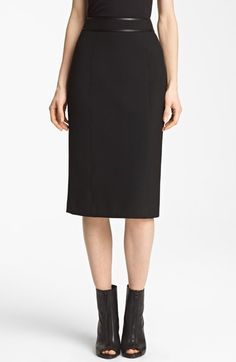 Burberry London Leather Detail Stretch Jersey Skirt