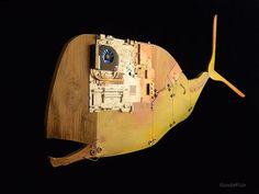 Escultura ballena cibernética moderna lámpara colgante con luz