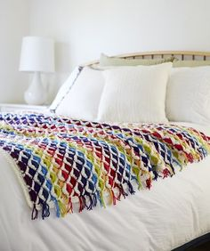 Yarnspirations is the spot to find countless free intermediate crochet patterns, including the Red Heart Rainbow Chic throw. Browse our large free collection of patterns & get crafting today! All Free Crochet, Love Crochet, Crochet Yarn, Easy Crochet, Crochet Stitches, Crochet Blanket Patterns, Crochet Blankets, Crochet Afghans, Afghan Patterns