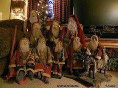 Prim Santas ~ Love This Display Christmas Elf Doll, Old Time Christmas, Old Fashioned Christmas, Primitive Christmas, Father Christmas, Santa Christmas, Country Christmas, Vintage Christmas, Christmas Crafts