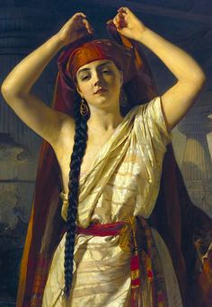 A Remnant of Something That's Past  An Egyptian Girl Preparing for the Bath | Henri Guillaume Schlesinger | 1869