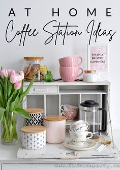 Home Coffee Station Ideas: #ad #cricutmade set up a special spot at home with everything you need to make the perfect coffee -or tea! Coffee Bar Home, Home Coffee Stations, Coffee Shop, Perfect Cup Of Tea, T Home, Party Activities, Diy Party Decorations, Decorating On A Budget, Diy Home Decor